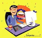 gåva present Kaka överrrakning tecknad filmcommandertryckspruta hans illustrationsoldatstopwatch royaltyfri illustrationer