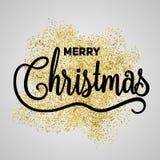 Gåvaaffisch för glad jul Guld- blänka bokstäver för jul arkivbilder
