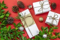 Gåvaask för vit jul på röd bakgrund som dekoreras med gräsplan fotografering för bildbyråer
