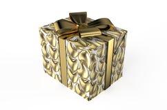 Gåvaask med guld- hjärtor Stock Illustrationer