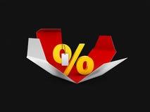 Gåvaask och illustration för procentsymbol 3d, symbol för rabatterbjudandepris Royaltyfri Bild