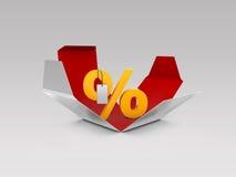 Gåvaask och illustration för procentsymbol 3d, symbol för rabatterbjudandepris Arkivfoton