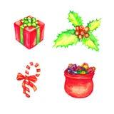 Gåvaask och Jultomte påse mycket av gåvor, järnekgruppen med röda bär och den randiga godisrottingen royaltyfri illustrationer