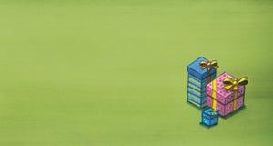 Gåvaaskar över grön bakgrund Julklappbakgrund vektor illustrationer