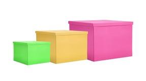 Gåvaaskar för pappers- färg som isoleras på vit Royaltyfri Foto
