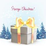 Gåvaaskar med pilbågar och band, julgranar, dröm, winte vektor illustrationer