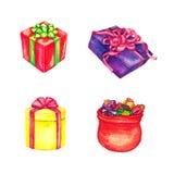Gåvaaskar och Jultomte påse mycket av gåvor royaltyfri illustrationer