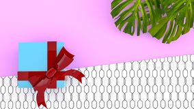 Gåvabok på tropisk bakgrund för färg med djungelväxter 3d sliter royaltyfri illustrationer