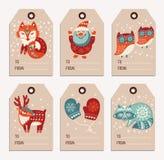 Gåvaetiketter för jul och för nytt år, klistermärkear, etiketter Royaltyfria Bilder