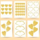 Gåvakort eller vykort Guld- hjärtor på en vit bakgrund Royaltyfria Foton