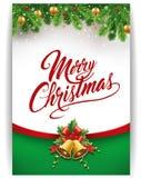 Gåvakort för glad jul med traditionella garneringar royaltyfri illustrationer