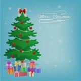 Gåvakort för glad jul med utrymme för text Julgran med gåvaaskar, bollar, girlander, pilbågar, garneringar Bakgrund med Arkivbilder