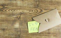 Gåvakort med texten: 14th Februari Arkivbilder