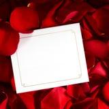 Gåvakort på röda Rose Petals Royaltyfria Foton