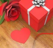 Gåvakortet indikerar hjärta Shape och flora Arkivbild