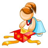 gåvakvinnainpackning Royaltyfri Illustrationer