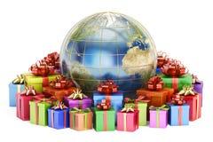 Gåvaleverans och globalt shoppingbegrepp, jord med gåvaaskar royaltyfri foto
