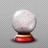 Gåvan på dag för valentin` s, en genomskinlig glass boll isolerade vecto vektor illustrationer