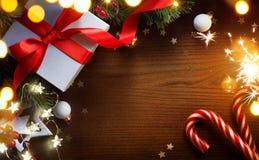 Gåvor för för Art Christmas trädgarnering och ferie arkivbild
