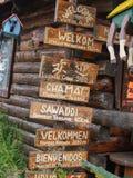 Gåvor för journalkabin, den turist- souvenir shoppar i Whittier Alaska, USA Arkivbild