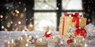Gåvor och struntsaker för röd och vit jul på tolkning för snö 3D Arkivfoton