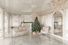 Gåvor på julgranen julskogen knurled morgon som snöig trails övervintrar wide klassiska lyxiga lägenheter med en vit spis, soffa, Arkivfoton