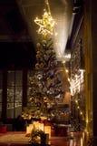 Gåvor under julgranen i omgivande vardagsrum med spisen royaltyfri bild
