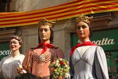 Géant dans des festivals traditionnels Barcelone. images stock