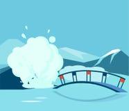 Géiser y el puente ilustración del vector
