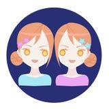 Gémeaux d'icône de zodiaque d'horoscope Image stock
