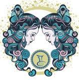 Géminis decorativos de la muestra del zodiaco Foto de archivo libre de regalías