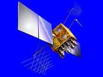 Généralistes satellites sur le bleu Photos stock