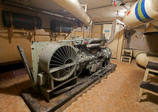 Générateur diesel dans le stockage soviétique d'arme nucléaire Images libres de droits