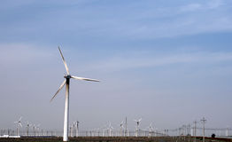 Génération d'énergie éolienne dans l'ouest de la Chine Photos stock
