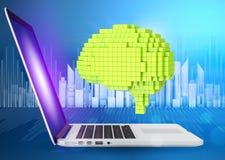 Génération de Digital de cerveau vert de voxel avec Image stock