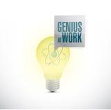 Génie au travail et à l'ampoule illustration de vecteur