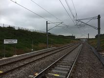 Génie civil ferroviaire de Norton Bridge Upgrade Staffordshire Alliance SAIP de rail de réseau de jonction de ruelle de projecteu photo stock