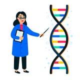 Génome ordonnançant le concept Scientifique et hélice femelles de l'ADN sur le fond, le génome ou la structure blanc de gène GÉNO illustration de vecteur