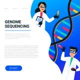 Génome ordonnançant le concept Scientifiques travaillant dans le laboratoire de nanotechnologie ou de biochimie Hélice de molécul illustration stock