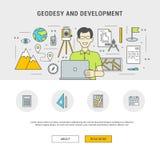Géodésie et développement plats de conception d'ensemble réglé de concept Image stock
