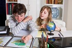 Géographie à la maison Photo stock