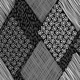 Géométrique abstrait PA sans couture tirée par la main monochrome Image stock