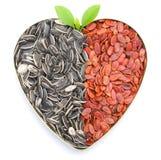 Gérmenes en forma de corazón del melón y de girasol Imagen de archivo libre de regalías