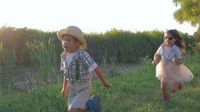 Gêmeos alegres que correm ao redor fora no campo durante umas férias de verão felizes no luminoso filme