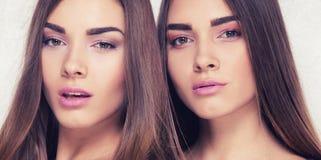 Gêmeos bonitos da irmã que levantam no estúdio Fotografia de Stock Royalty Free