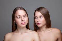 Gêmeos com pele perfeita e cabelo reto longo Fotografia de Stock