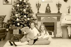 Gêmeos das meninas com a árvore de Natal dos presentes e Foto de Stock Royalty Free