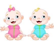 Gêmeos de sorriso bonitos ilustração stock