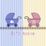 Gêmeos do cartão de chegada do bebê Foto de Stock Royalty Free