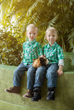 Gêmeos louros bonitos que levantam ao sentar-se no parque Imagens de Stock